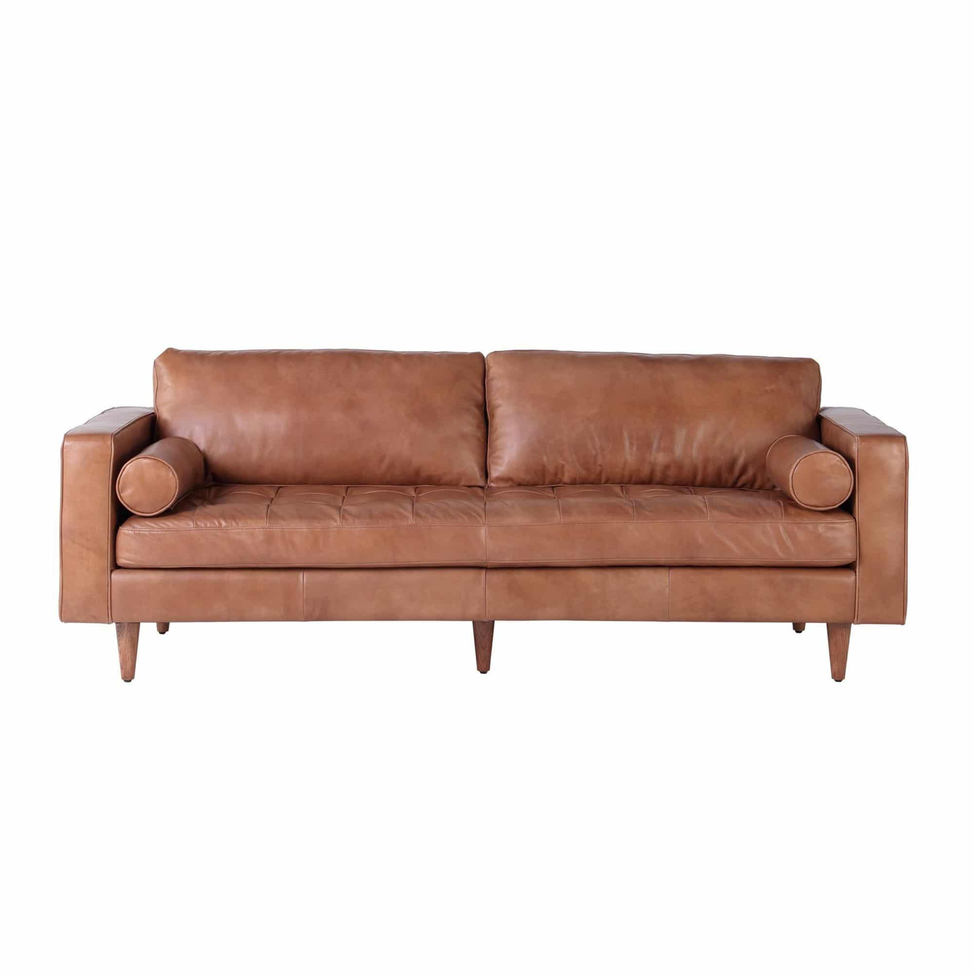 Roma Italian Cognac Leather Sofa