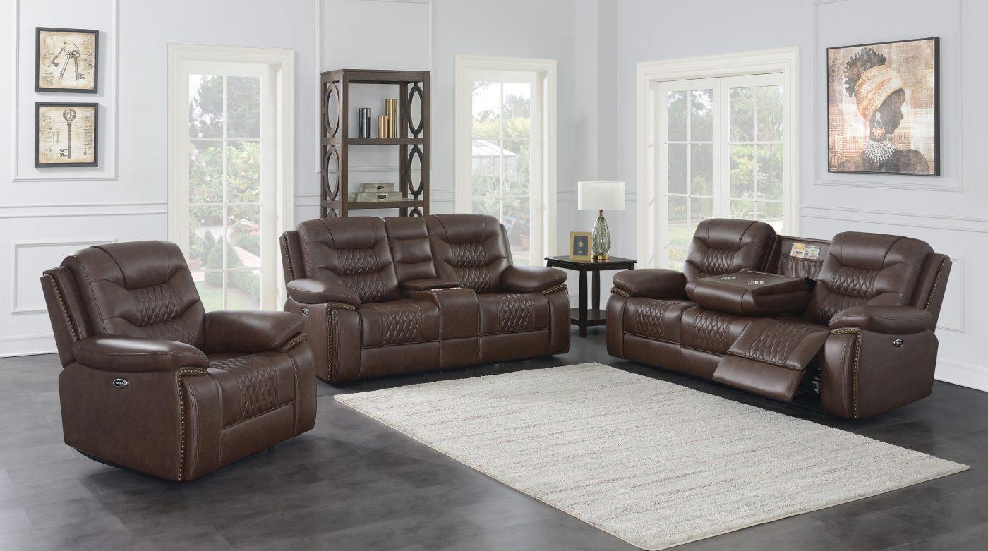 610201P Flamenco Brown Leather Sofa Set