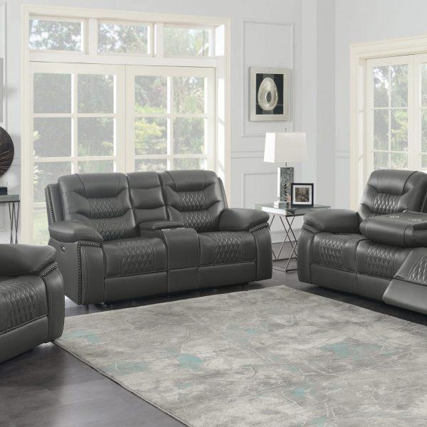 610204P Reclining Gray Leather Sofa Set