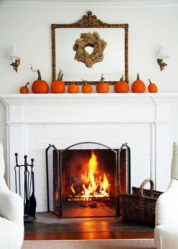 fireplace pumpkins decor