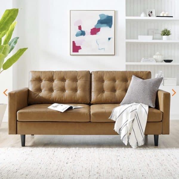 Exalt vegan leather sofa EEI-4446-TAN