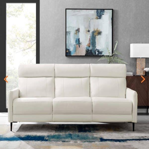Huxley White Leather Sofa EEI-4561-WHI