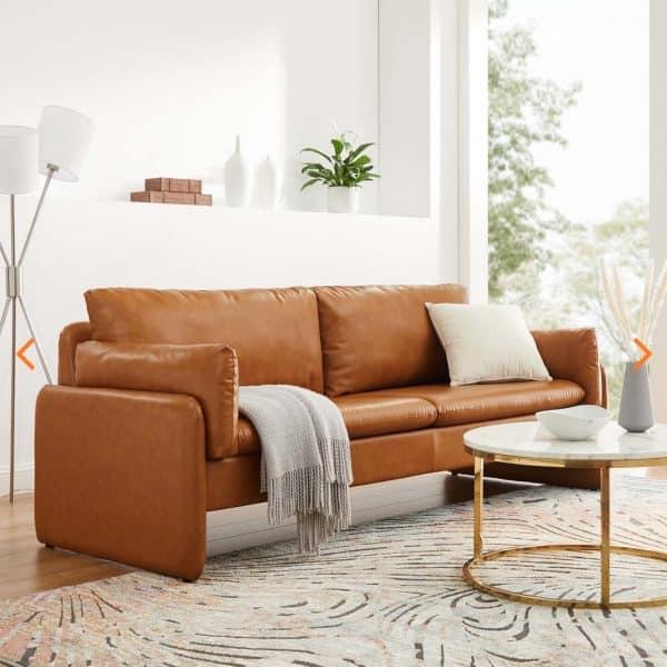 Indicate sofa Tan Leather EEI-5151-TAN