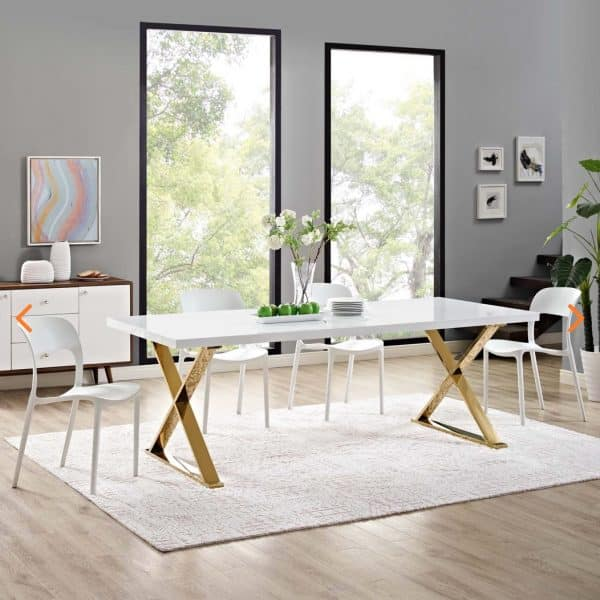Sector Gold And White Dining Table