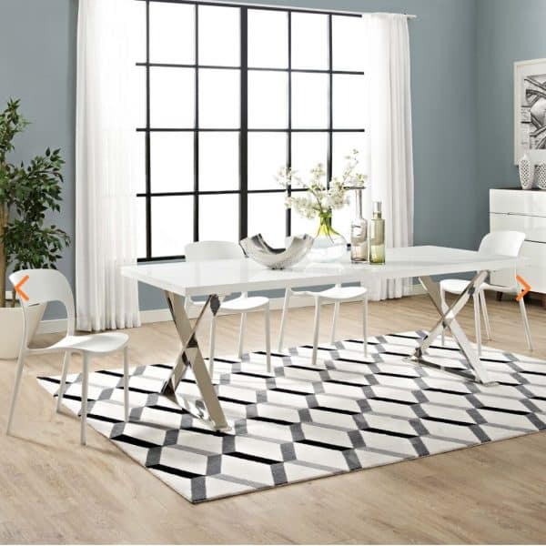 Sector Silver And White Dining Table
