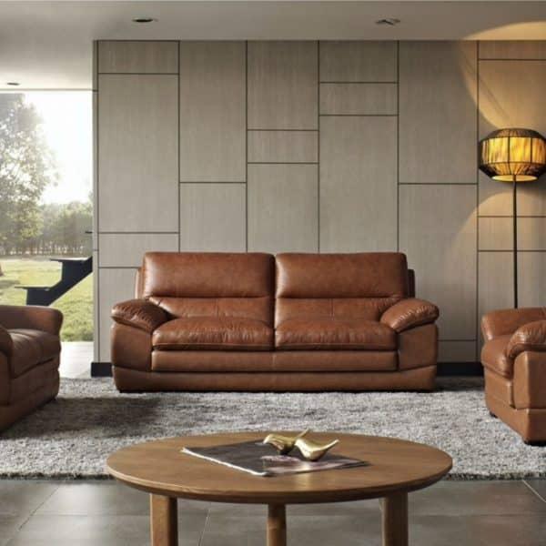 Divani Casa Kendrick Brown Leather Sofa Set